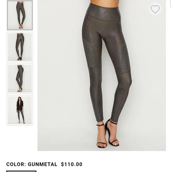 5ae38c56a9e18 SPANX faux leather moto leggings in Gunmetal. Listing Price: $98.00